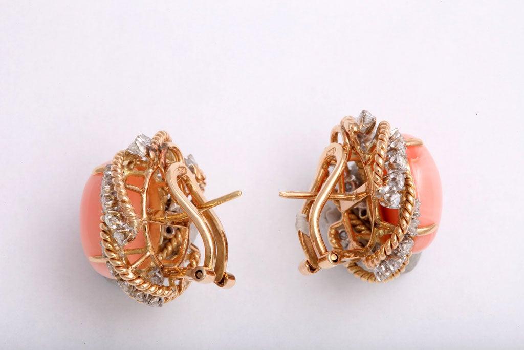 Women's Spectacular Angel Skin Coral & Diamond  Gold Earrings For Sale