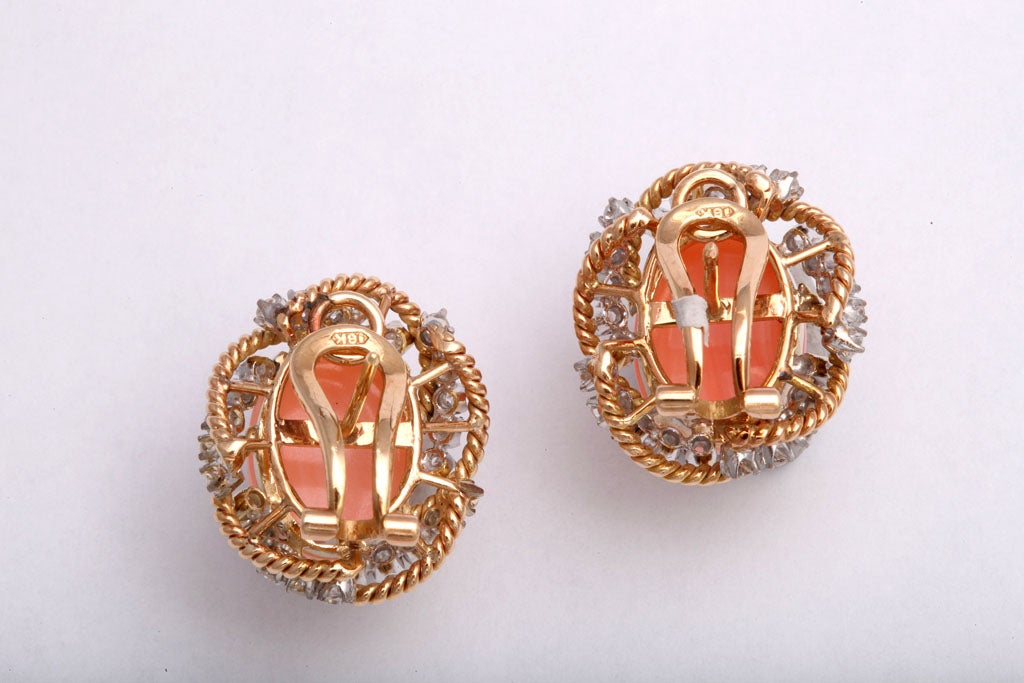 Spectacular Angel Skin Coral & Diamond  Gold Earrings 1