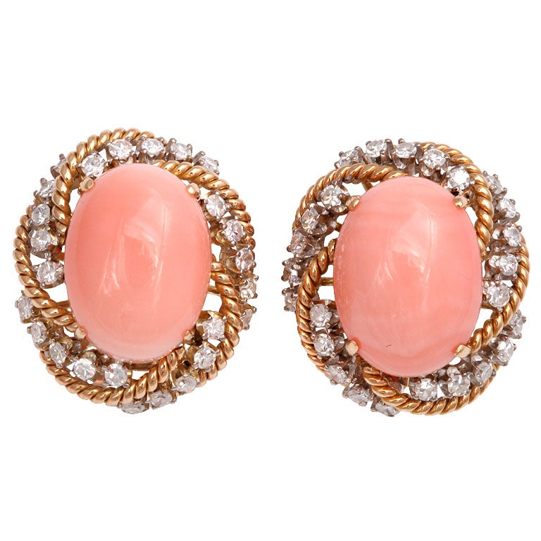 Spectacular Angel Skin Coral & Diamond  Gold Earrings