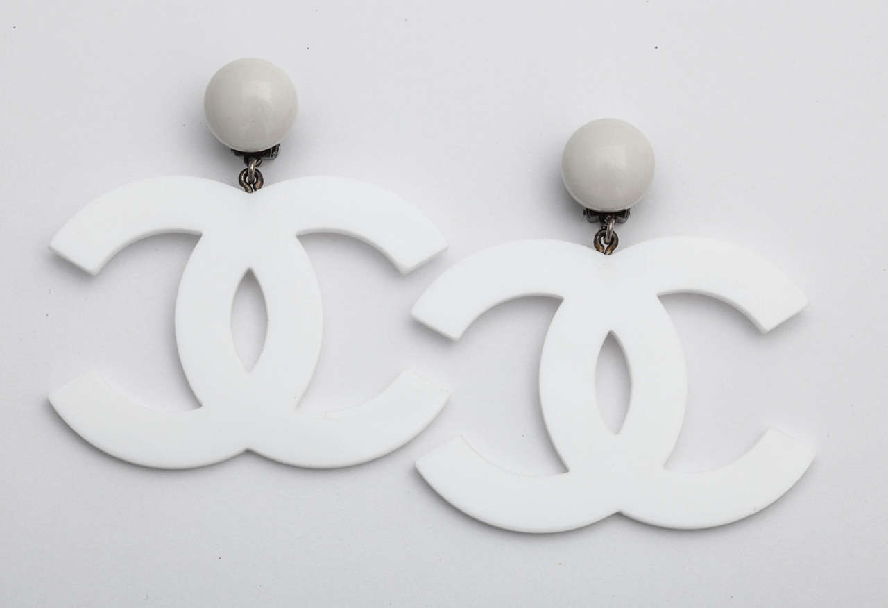 Rare Chanel Large White CC Earrings 2
