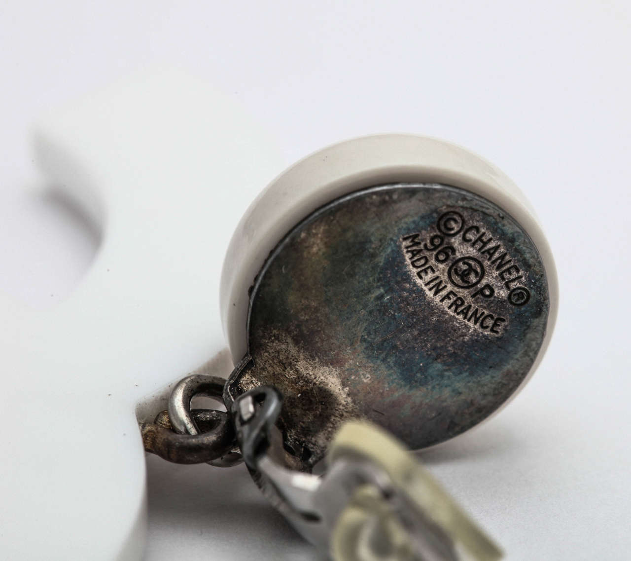 Rare Chanel Large White CC Earrings 4