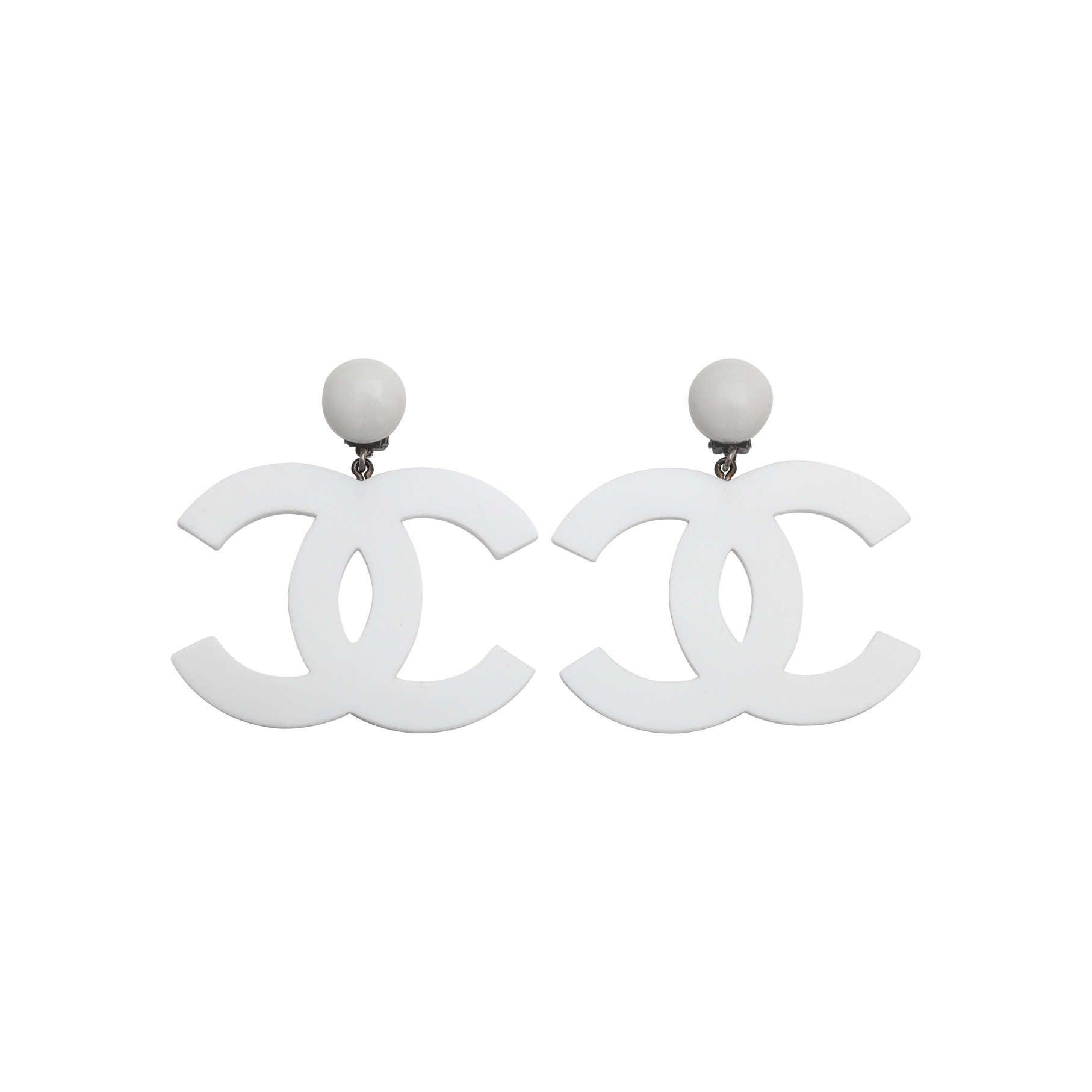 Rare Chanel Large White CC Earrings 1