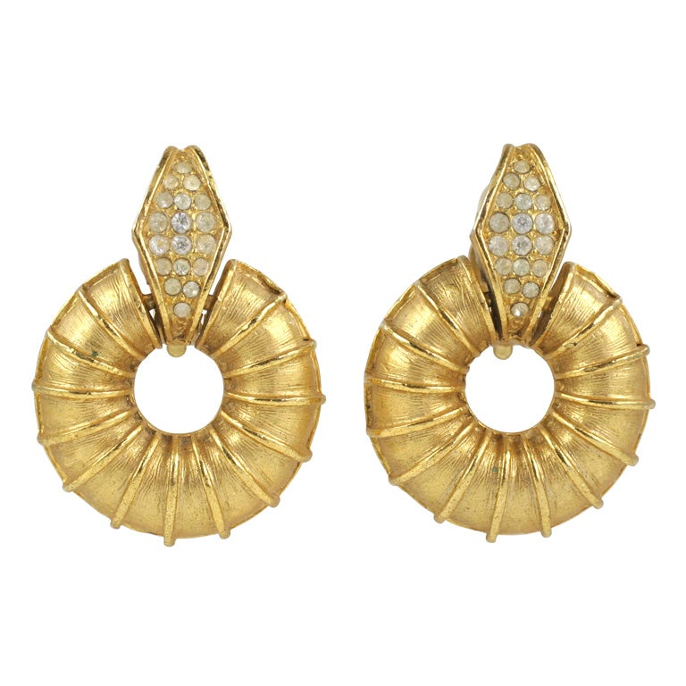 """""""Gold"""" Ribbed Donut Earrings, Costume Jewelry"""