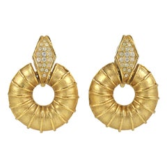 """Gold"" Ribbed Donut Earrings, Costume Jewelry"