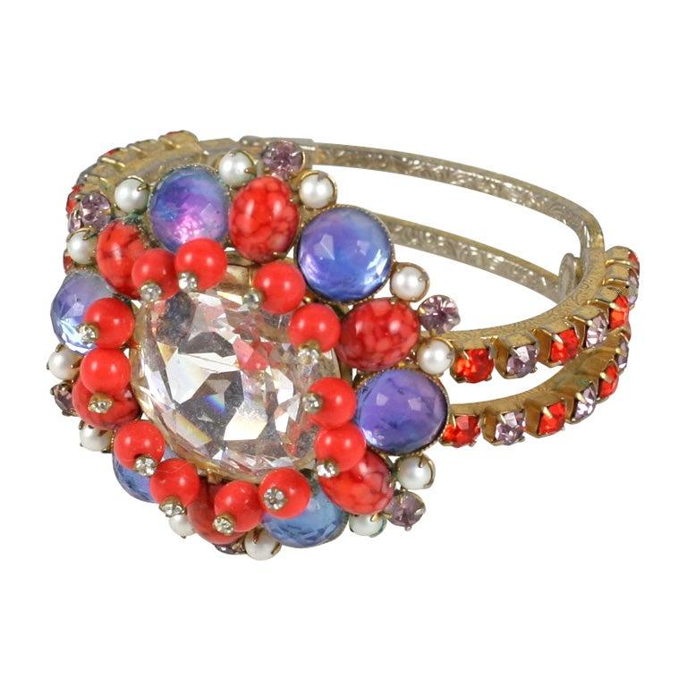 Headlight Rhinestone Clamp Bracelet
