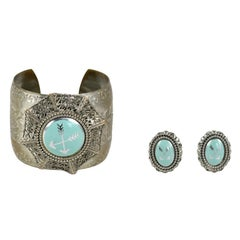 Silvertone Cuff and Earrings, Costume Jewelry
