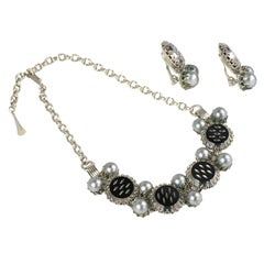 """Silver"" ""Pearl"" and Black Necklace and Earrings, Costume Jewelry"