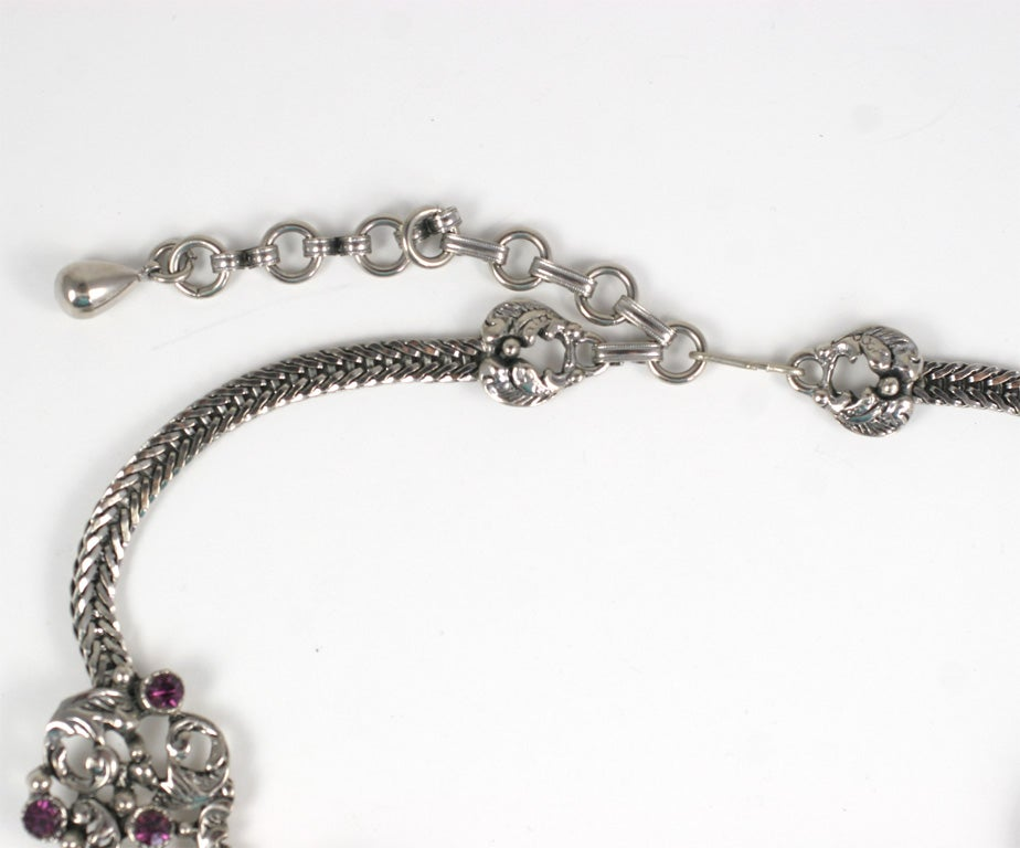 Lavender and Black Jeweled Necklace and Earrings In Excellent Condition For Sale In Stamford, CT
