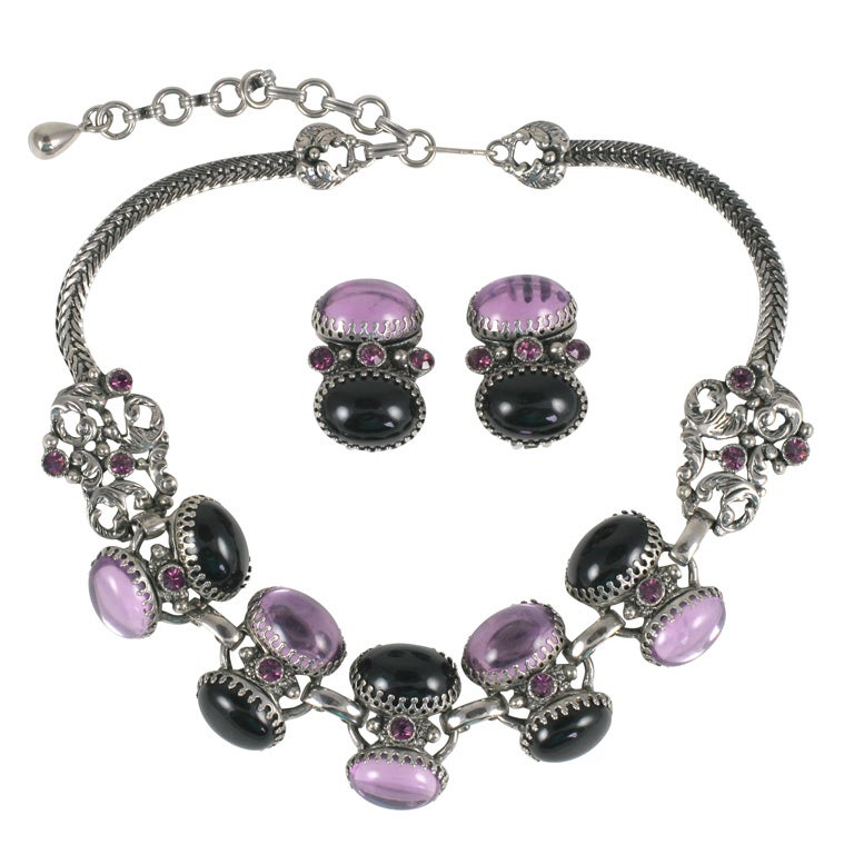 Lavender and Black Jeweled Necklace and Earrings For Sale
