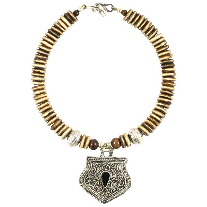 Bone and Silver Medallion Necklace, Costume Jewelry