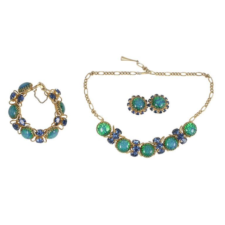 Blue and Green Jeweled Necklace, Bracelet, Earrings