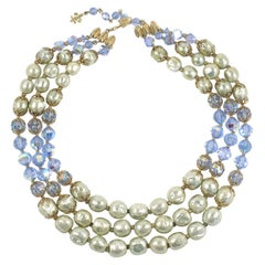 "Vendome Baroque ""Pearl"" and Blue Crystal Necklace, Costume Jewelry"