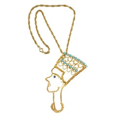 Nefertiti Pendant Necklace, Costume Jewelry