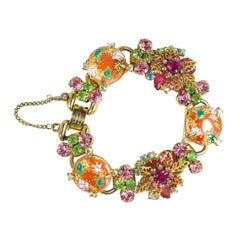 Orange, Green, and Pink Juliana Bracelet, Costume Jewelry