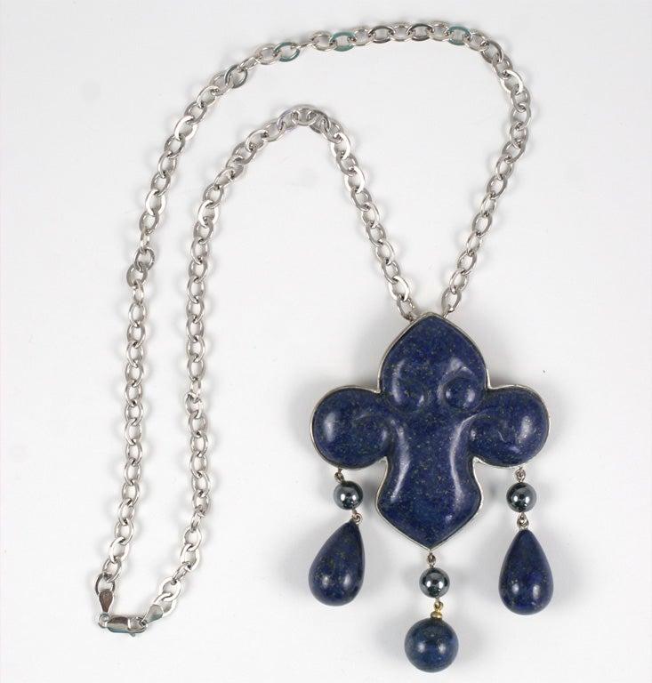 Cabochon Les Bernard Lapis Lazuli Pendant Necklace For Sale