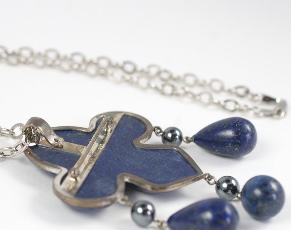 Les Bernard Lapis Lazuli Pendant Necklace For Sale 2