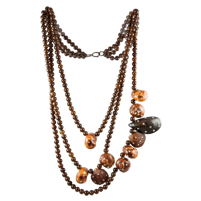 Karl Lagerfeld for Fendi Sea Shell Motif Multi-Strand Runway Necklace 1