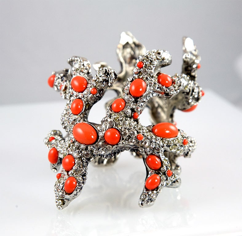 """Here is another cuff shaped like branch coral, set with both rhinestones and glass """"coral"""" stones.  This cuff has a different shape than the other listing making them both unique.  Mr. Valentino sure knows what he is doing."""