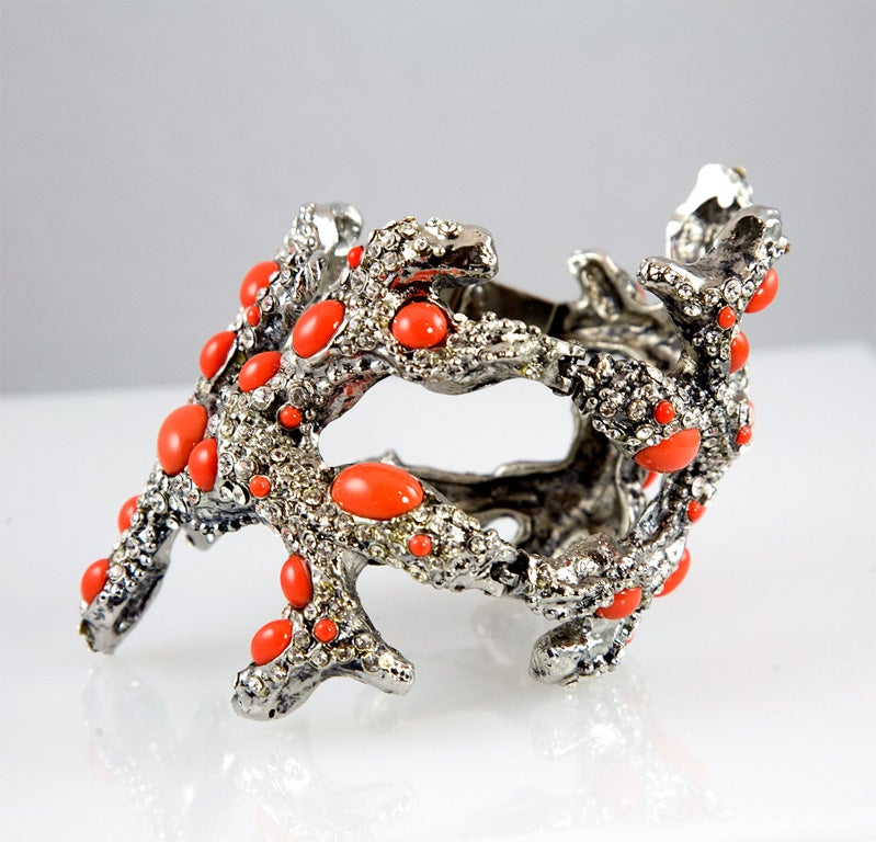 Valentino Coral Runway Cuff In Excellent Condition For Sale In Los Angeles, CA