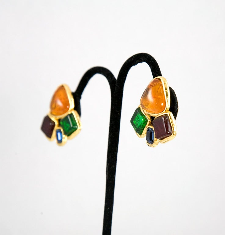 Chanel Multi Colored Poured Glass Ear Clips 5