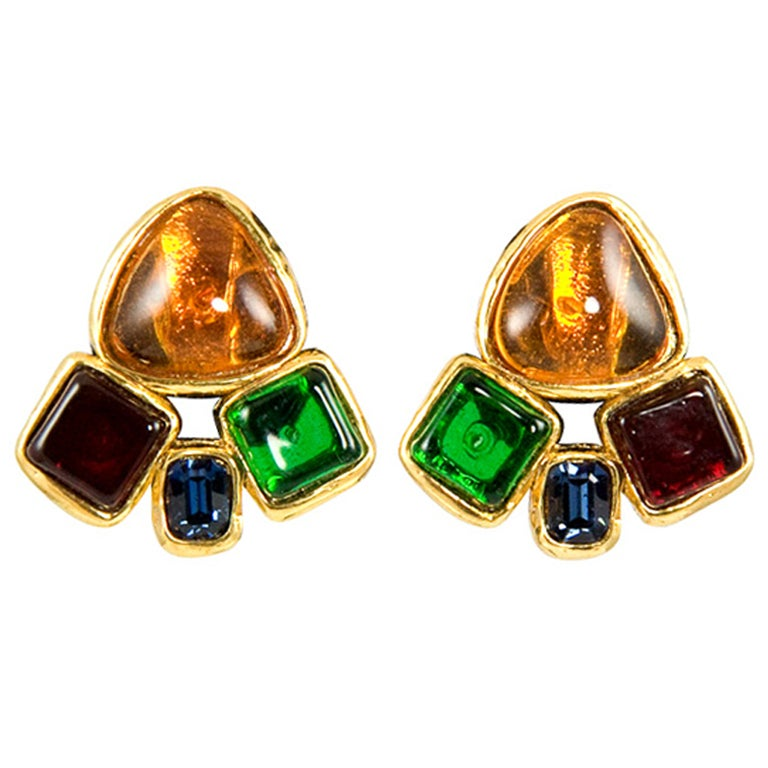 Chanel Multi Colored Poured Glass Ear Clips 1