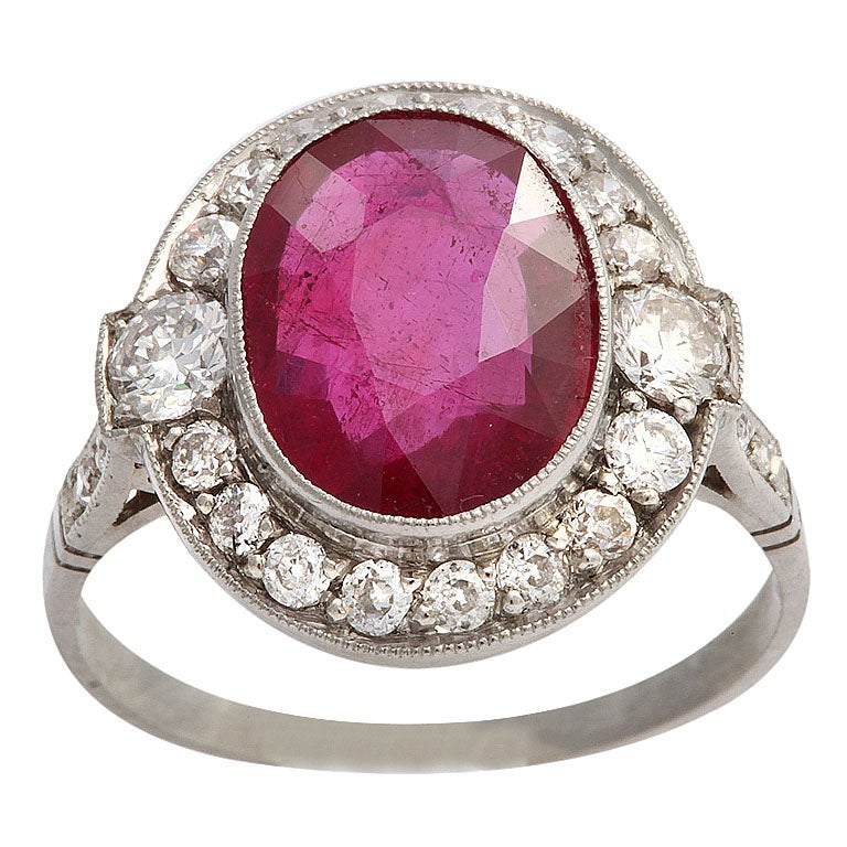 platinum deco scissor cut ruby and ring at 1stdibs