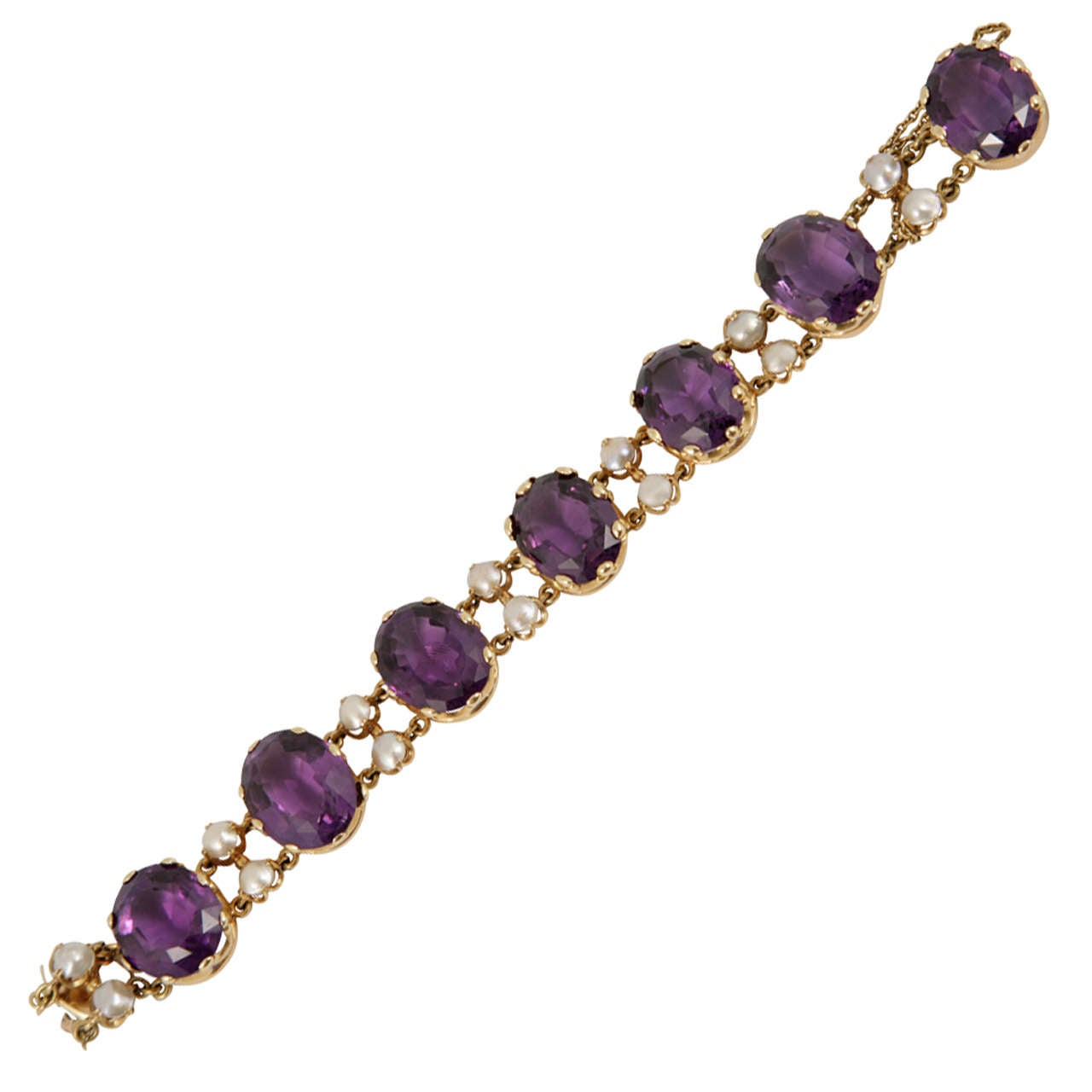 French Victorian Pearl Amethyst Yellow Gold Bracelet