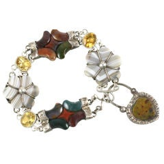 Victorian Scottish Agate Padlock Bracelet with Citrines