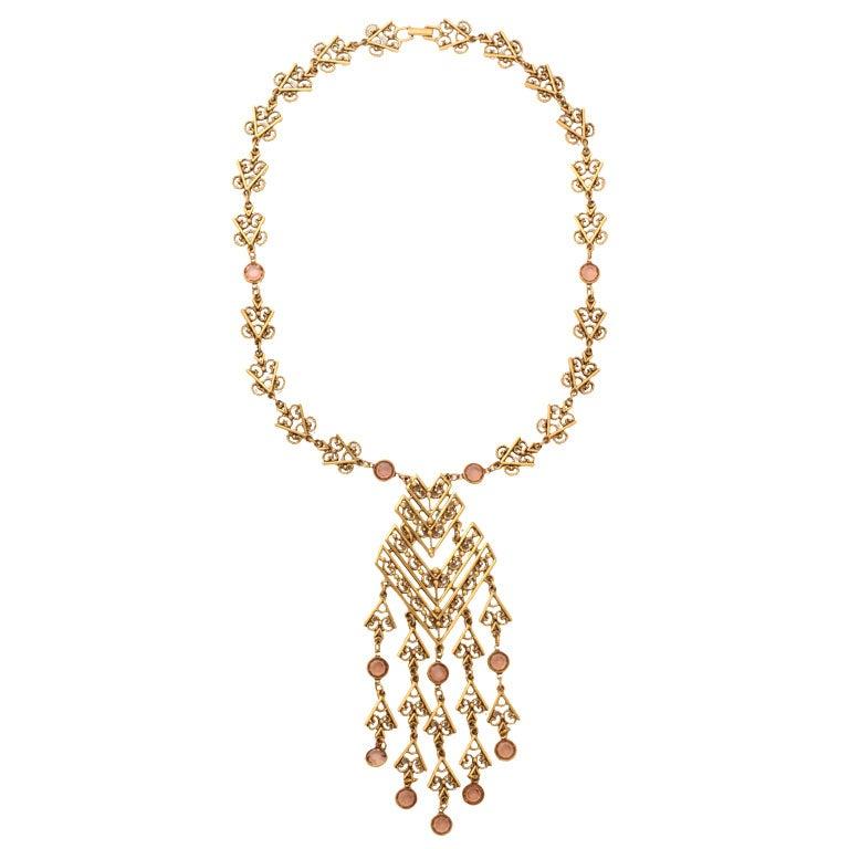 Goldtone Filigree Dangle Pendant Necklace