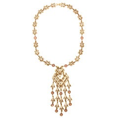Goldtone Filigree Dangle Pendant Necklace