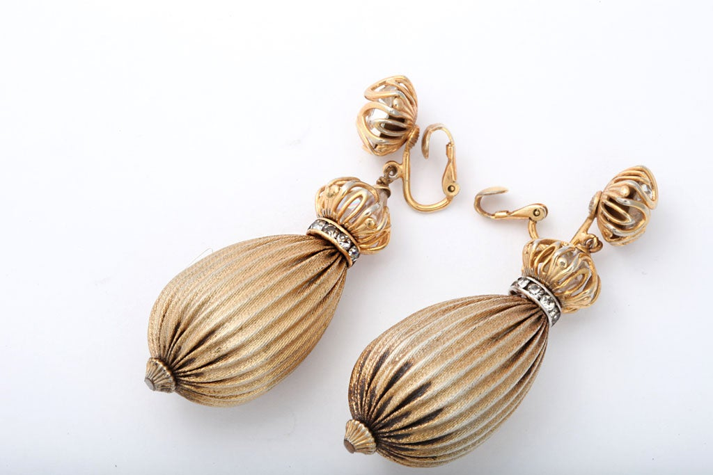 Exotic Goldtone Drop Earrings For Sale 1