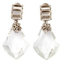 "Large Lucite ""Diamond"" Earrings"