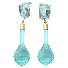 Aqua Lucite Dangle Earrings