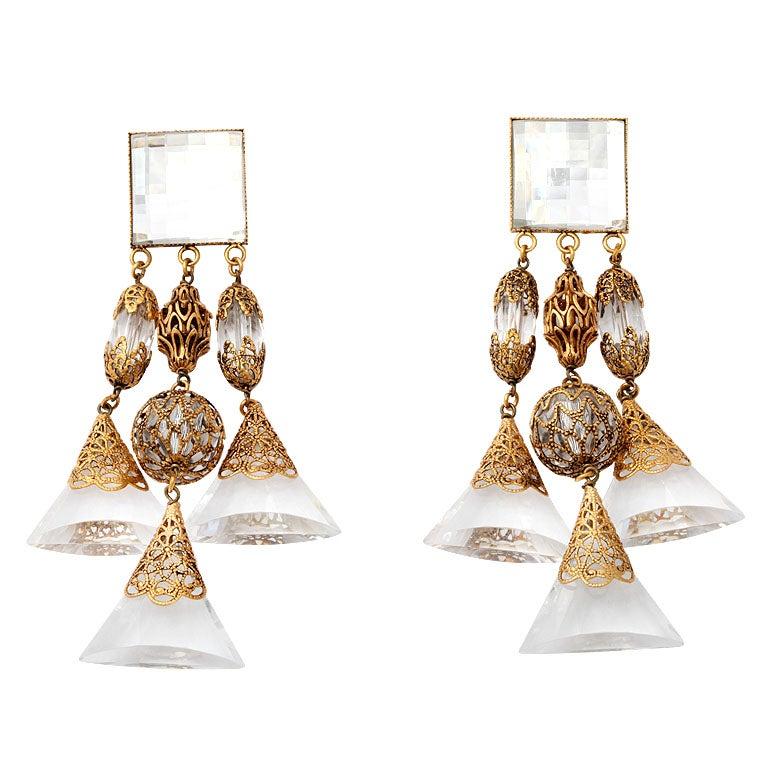 French Lucite Triple Dangle Earrings