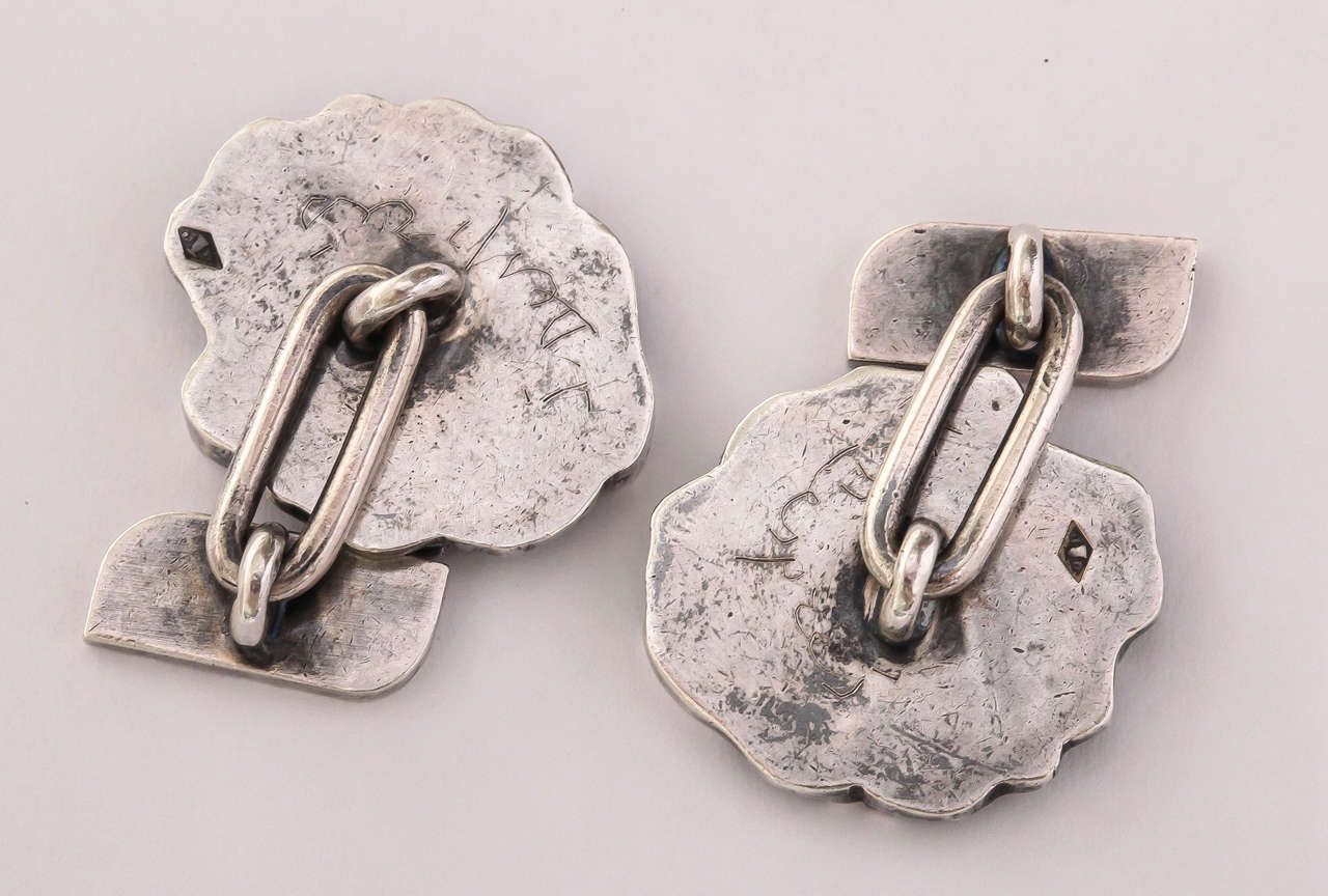 Jean Despres French Art Deco Sterling Silver Cufflinks In Excellent Condition For Sale In New York, NY