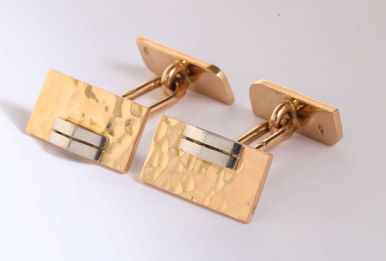 Jean Despres French Art Deco Gold Cufflinks In Excellent Condition For Sale In New York, NY