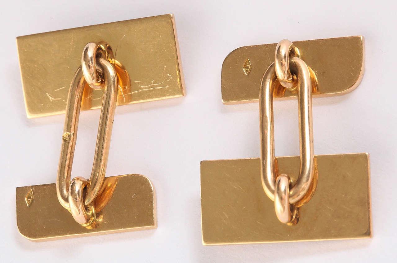 Men's Jean Despres French Art Deco Gold Cufflinks For Sale