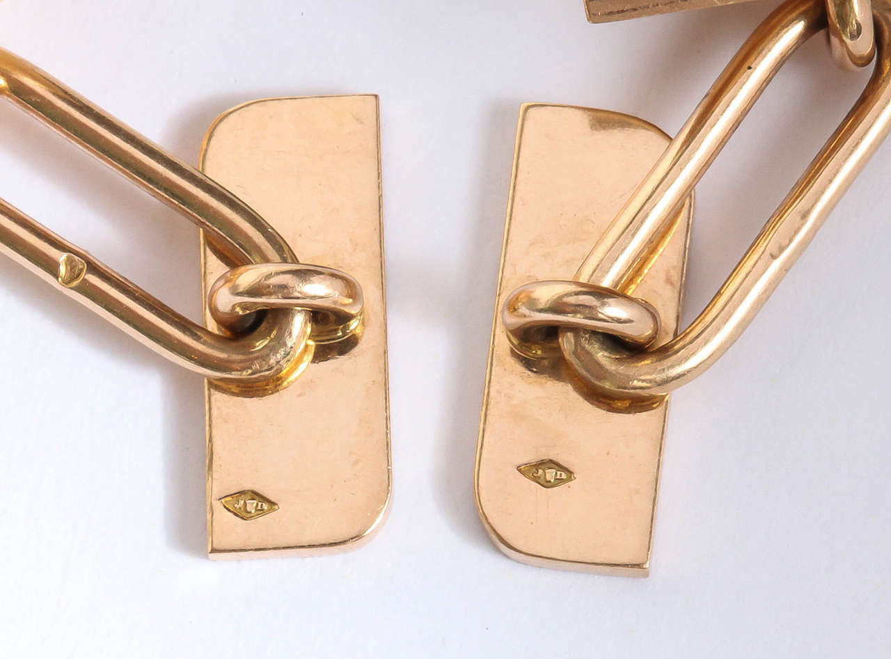 Jean Despres French Art Deco Gold Cufflinks For Sale 2