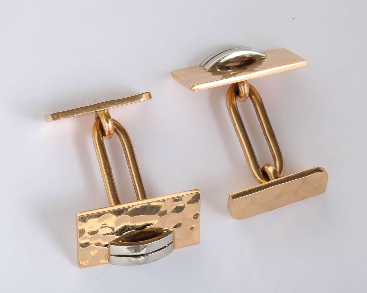 Jean Despres French Art Deco Gold Cufflinks For Sale 3