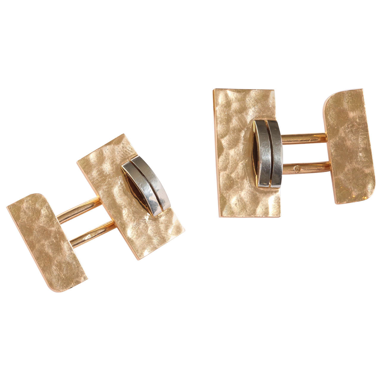 Jean Despres French Art Deco Gold Cufflinks For Sale