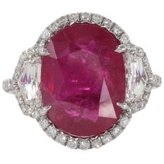 Incredible Eight Carat Certified Ruby and Diamond Set in Platinum