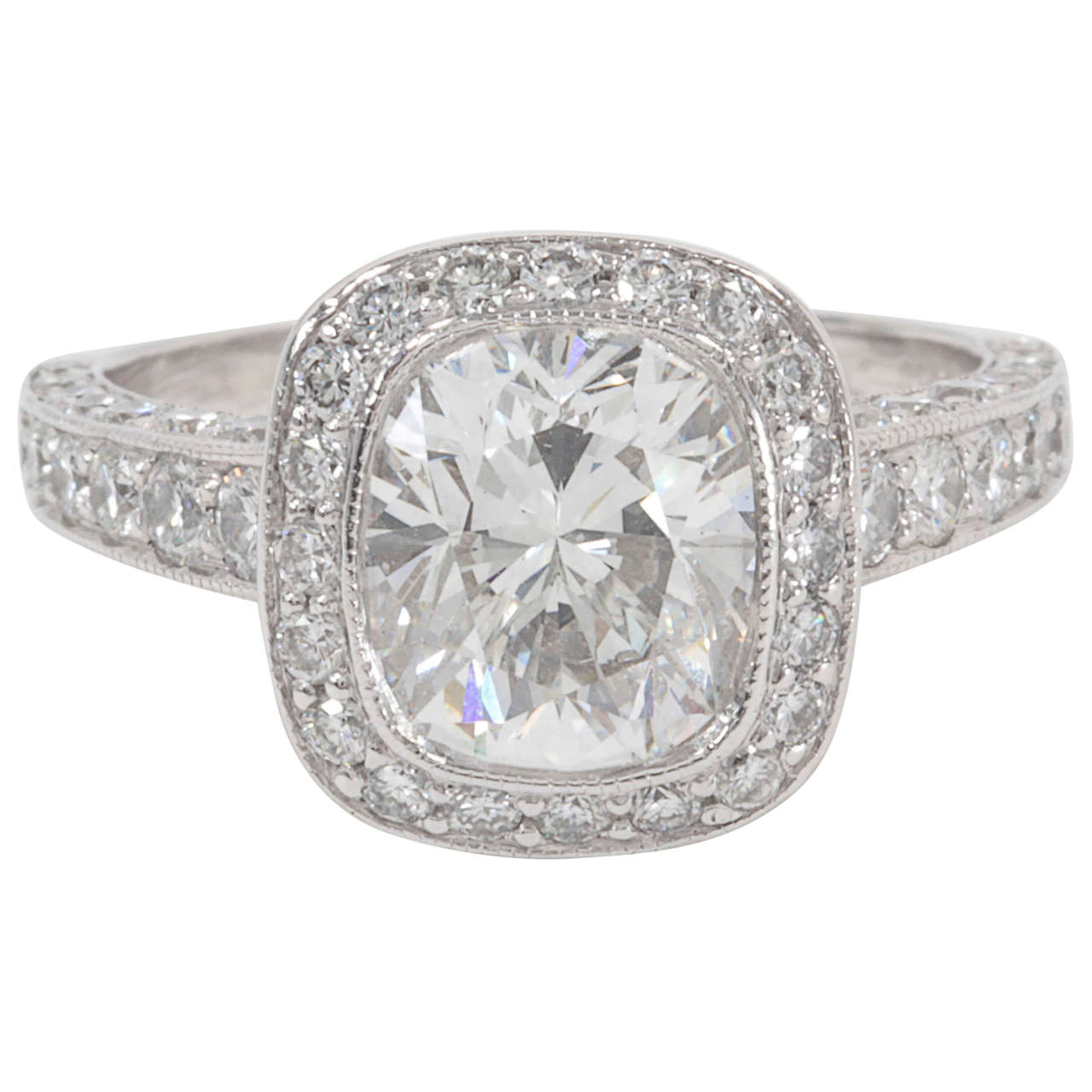 GIA Certified Cushion Cut Engagement Ring