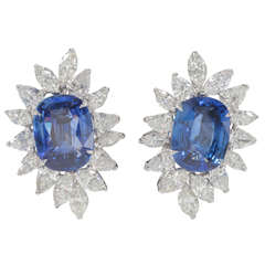 Important Cushion Cut Ceylon Sapphire Diamond platinum Ear Clips