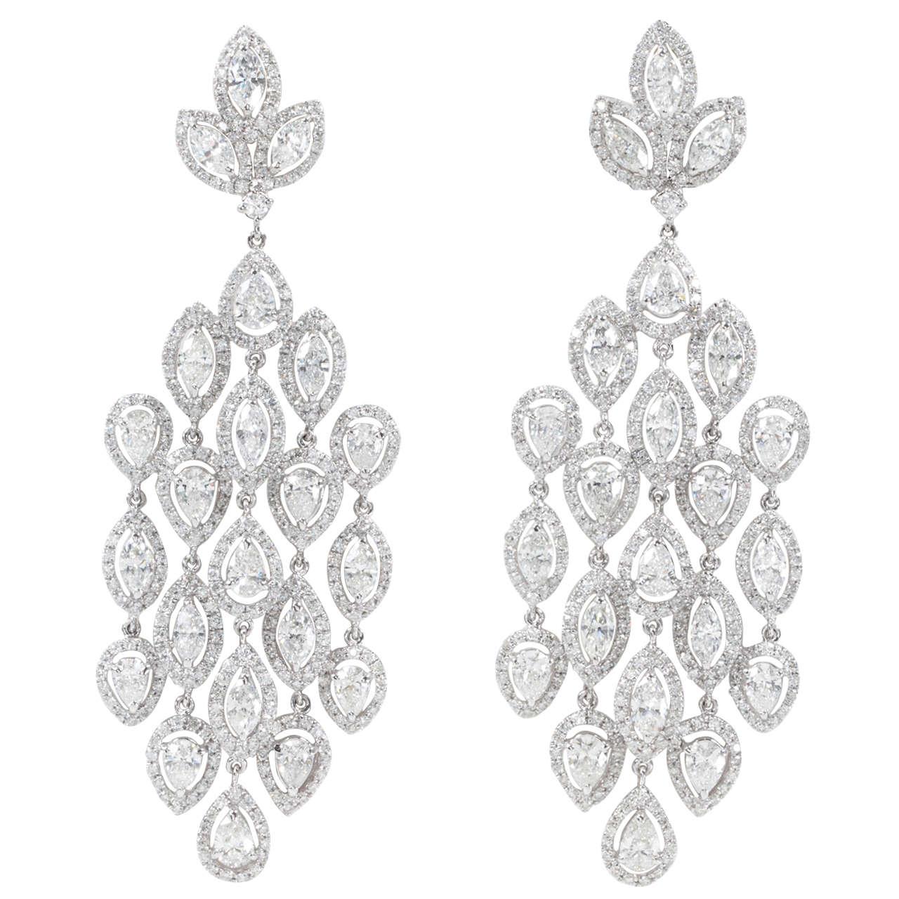 Glamorous Diamond Petal Chandelier Earrings For