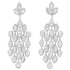 Glamorous  Diamond Petal Chandelier Earrings
