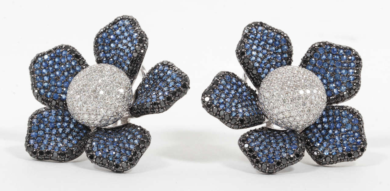 Large Sapphire Diamond Flower Ear Clips 2