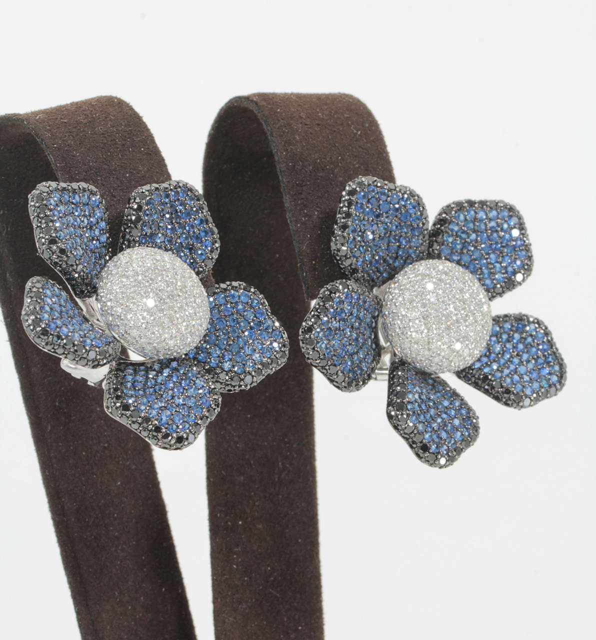 Large Sapphire Diamond Flower Ear Clips 3