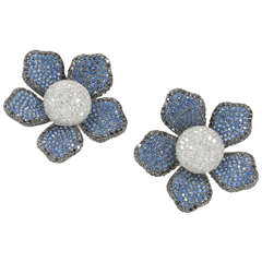 Large Sapphire Diamond Flower Ear Clips