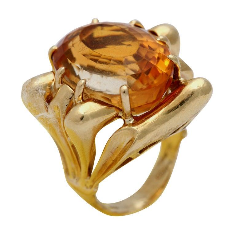 18Kt Yelloww Gold  &  Citrine Architectonic Ring