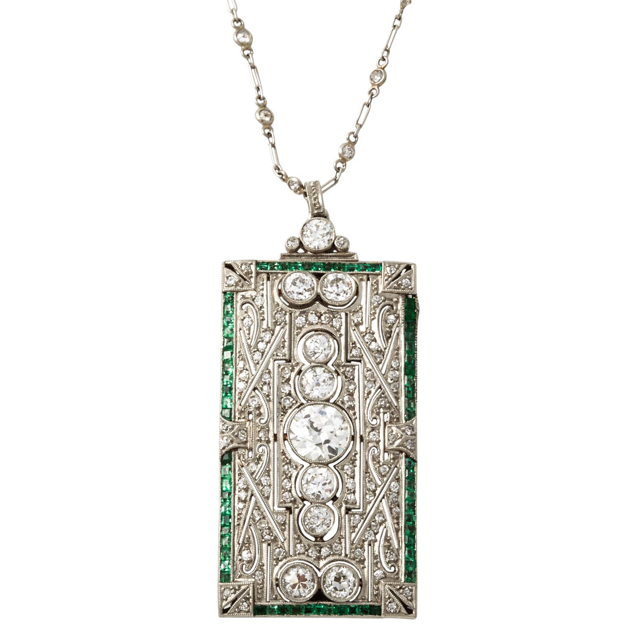 An Art Deco Platinum Emerald Diamond Brooche Pendant At